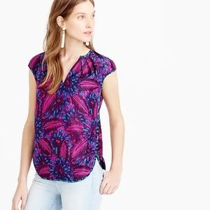 J.Crew SZ 2 Midnight Floral Cocoon Silk Blouse